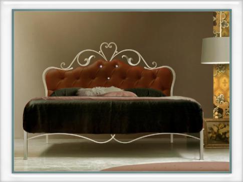 Letto norma imbottito con swarovski vendita on line di for Letti a castello in ferro battuto
